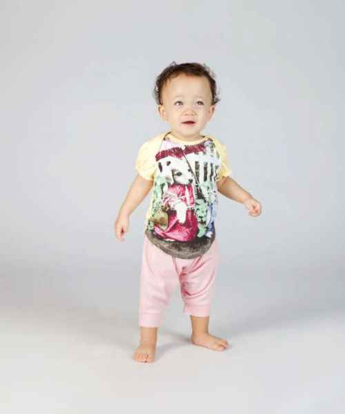 Vintage Dog & Cat Short Sleeve Tee & Leggings Baby & Toddler Girls Two Piece Outfit Set (Organic Cotton)