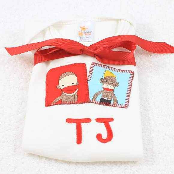 Personalized Two Monkeys Short Sleeve Baby Bodysuit