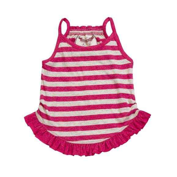 Pink Stripe Sleeveless Baby and Toddler Girls Top (Organic Cotton)
