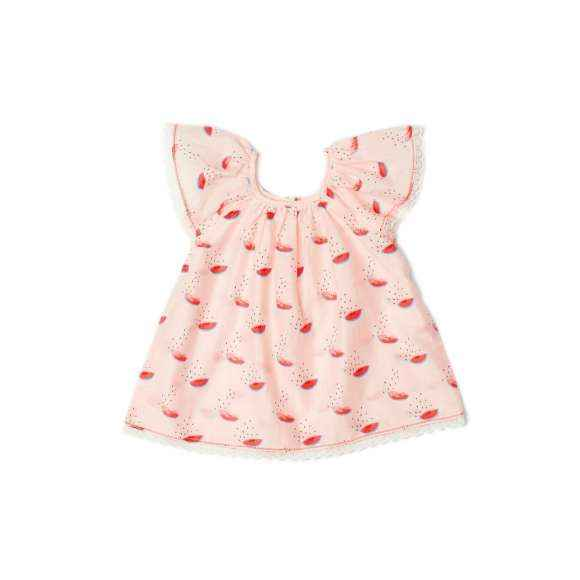 Watermelon Flutter Sleeve Little Girls Blouse
