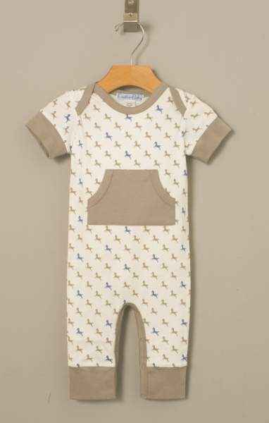 Horse Print Short Sleeve Baby Jumpsuit Romper (Organic Pima Cotton)