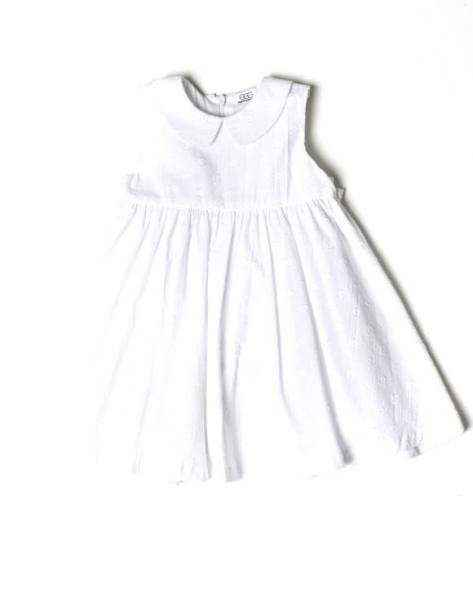 White Dot Sleeveless Girls Dress