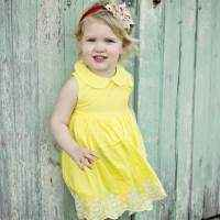 Yellow Sleeveless Embroidered Baby and Girls Dress