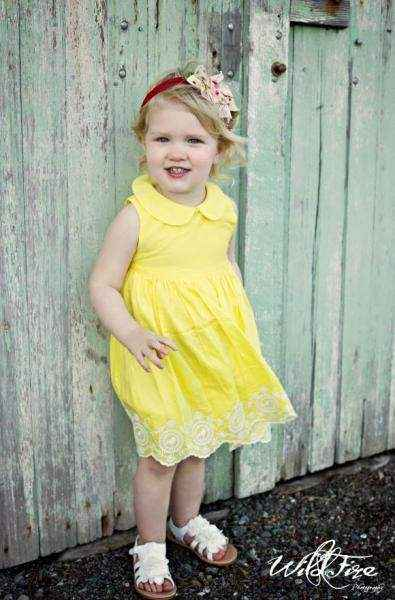 Yellow Sleeveless Embroidered Baby & Girls Dress