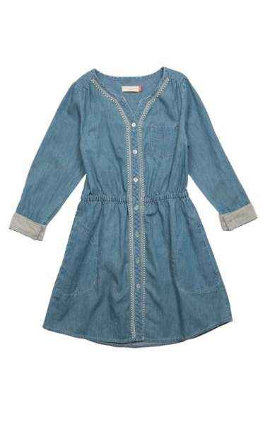 Kennedy Long Sleeve Chambray Big Girls Dress