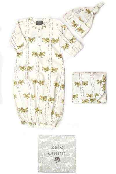 Goldfish Print Snuggle Baby Gown, Hat & Swaddling/Stroller Blanket Gift Set (Organic Cotton)