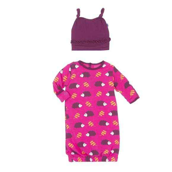 Hedgehog Print Baby Girl Gown & Hat Outfit Set (Organic Bamboo)