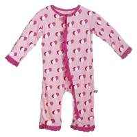 Balloon Print Pink Long Sleeve Baby Girl Jumpsuit & One Piece Pajamas (Organic Bamboo)