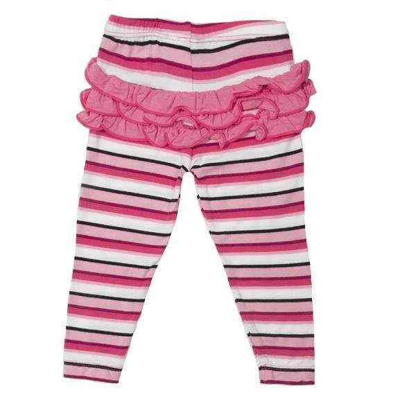 Rose Stripe Baby Girl Ruffle Ultra Soft Leggings (Organic Bamboo)