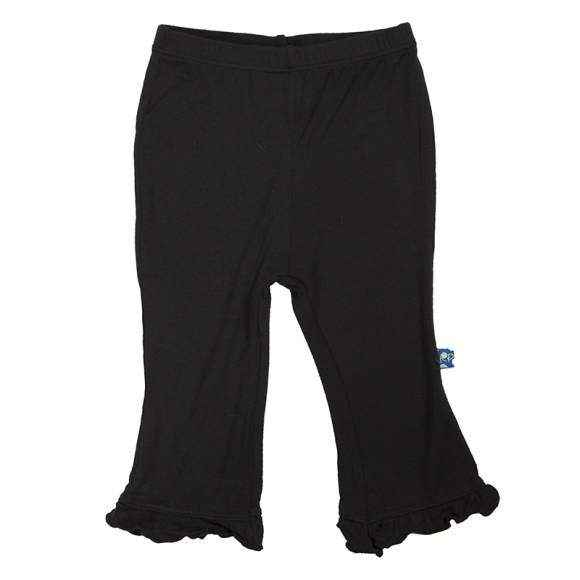 Black Ruffle Baby Girl Pants (Organic Bamboo) - ONLY ONE LEFT!