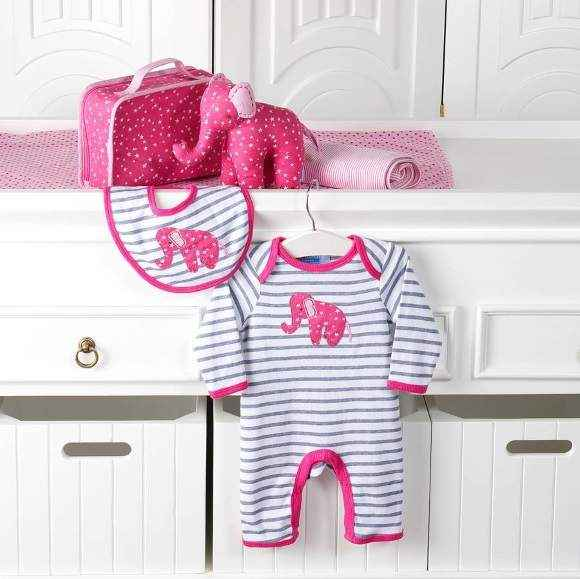Hot Pink Elephant Long Sleeve Baby Girl Jumpsuit and Bib Gift Set