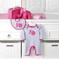Hot Pink Elephant Long Sleeve Baby Girl Jumpsuit & Bib Gift Set