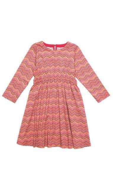 Chevron Long Sleeve Big Girls Dress