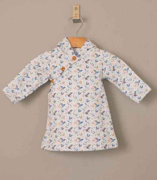 Kimono Long Sleeve Baby Girl Hoody Dress (Organic Cotton)