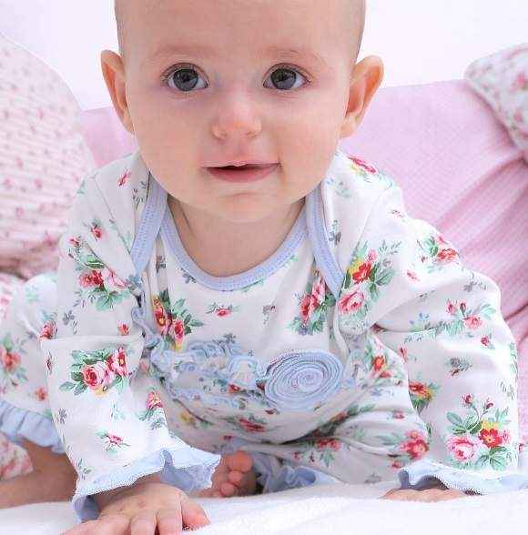 Lena Long Sleeve Floral Baby Girl Jumpsuit & One Piece Pajamas
