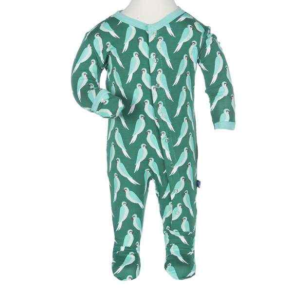 Parrot Print Long Sleeve Modern Baby Footie Romper and One Piece Pajamas (Organic Bamboo)