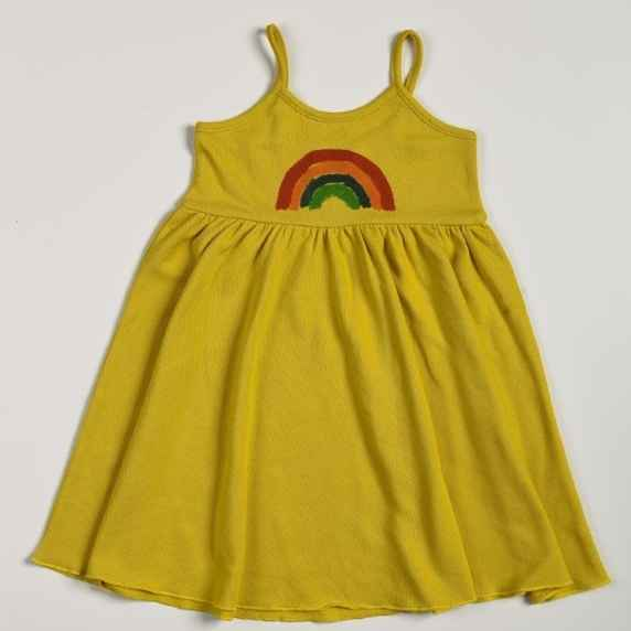 Rainbow Spaghetti Strap Little Girls Dress