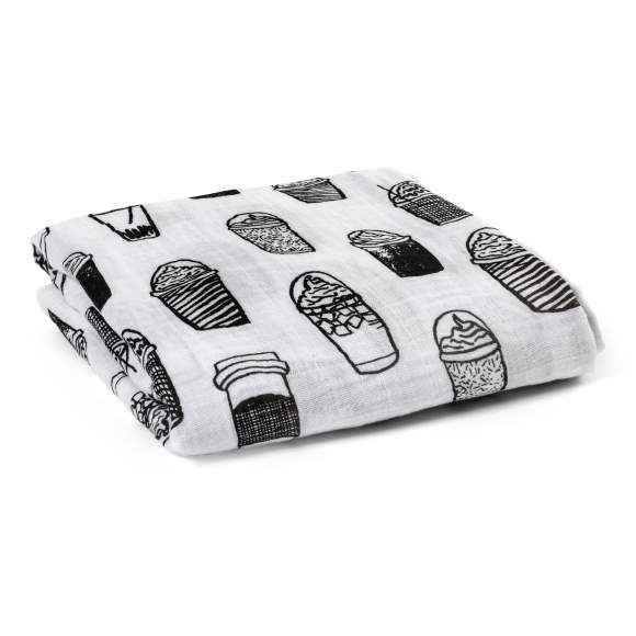 Coffee Print Black and White Baby Swaddle Blanket (Organic Cotton Muslin)