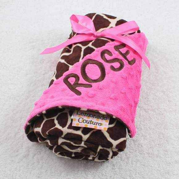 Hot Pink Giraffe Minky Baby Girl Blanket (American Made) (Available Personalized)