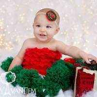Red and Green Christmas Girl and Toddler Headband