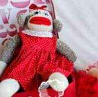Handmade Girl Sock Monkey with Polka Dot Dress