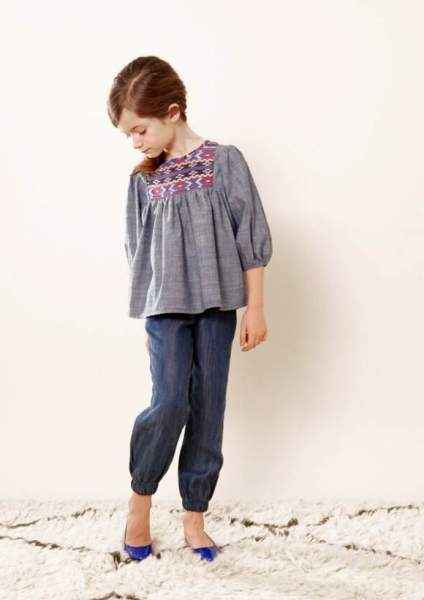 Denim Baby and Little Girls Modern Boutique Pants (American Made)