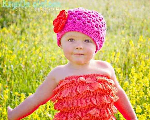 Tilly Girls Hot Pink Crocheted Flower Hat (American Made)