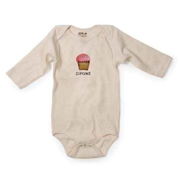 Cupcake Long Sleeve Baby Girl Bodysuit (Organic Cotton)