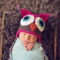 Hot Pink Baby and Toddler Girls Owl Hat