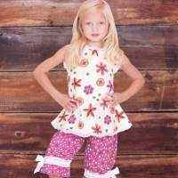 Verbena Print Baby and Girls Sleeveless Blouse and Pants Two Piece Outfit Clothing Set