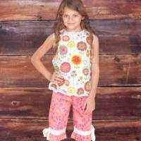 Fiorito Print Baby and Girls Sleeveless Blouse and Pants Two Piece Clothing Outfit Set