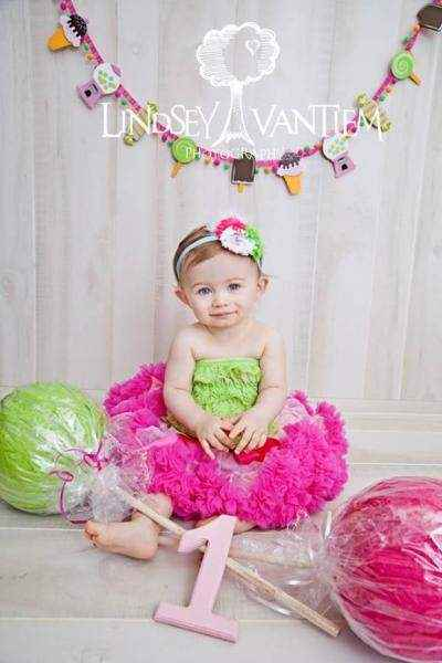 Lime Green Baby & Little Girls Lace Ruffle Petti Romper