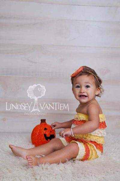 Candy Corn Fall Lace Ruffle Little Girls Petti Romper