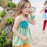 Posie Cute Boutique Halter Top for Girls in Turquoise