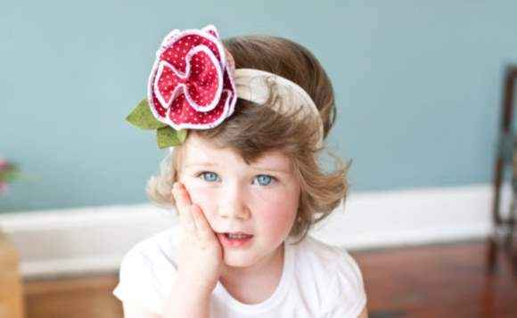 Designer Blossom Girls Polka Dot Flower Headband (American Made)