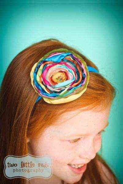 Isabella Multicolor Girls Flower Headband (American Made)