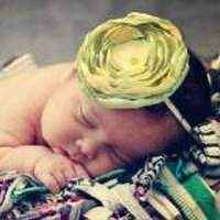 Cassandra Yellow and Green Baby and Girls Flower Headband (American Made)