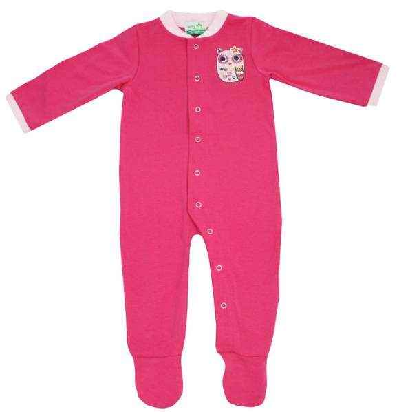 Hot Pink Owl Long Sleeve Baby Girl Footie Romper and One Piece Pajamas (Organic Cotton and Bamboo)
