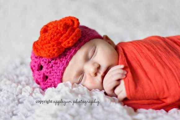 Tilly Baby Girl Hot Pink Crocheted Flower Hat (American Made)