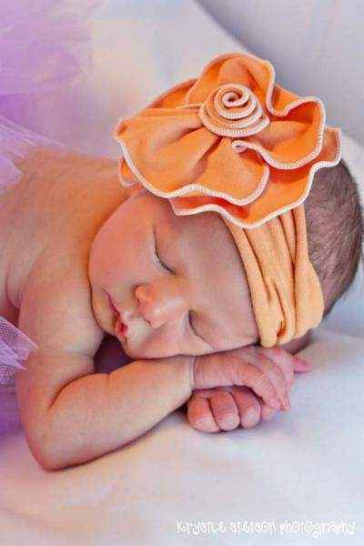 Orange Sherbet Baby Flower Headband (American Made)