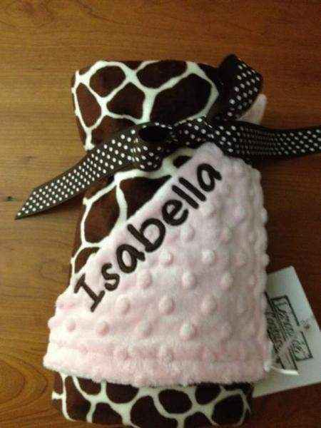 Light Pink Giraffe Minky Baby Girl Boutique Blanket  (American Made) (Available Personalized)
