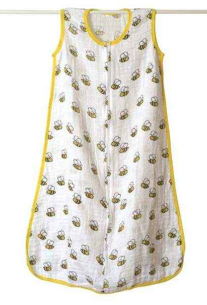 Bee Print Muslin Wearable Baby Blanket Sleep Sack/Sleeping Bag