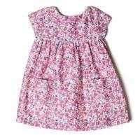 Pink Floral Unique Kids Boutique Silk Cotton Pocket Dress