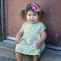 Green Floral Short Sleeve Baby and Girls Dress
