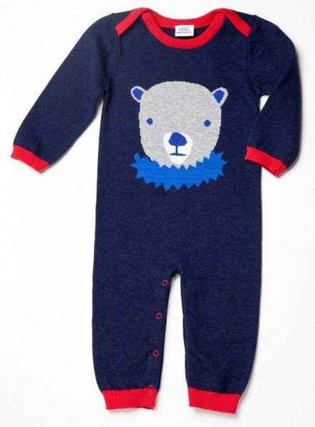 Circus Bear Blue Knit Sweater Baby Long Sleeve Jumpsuit