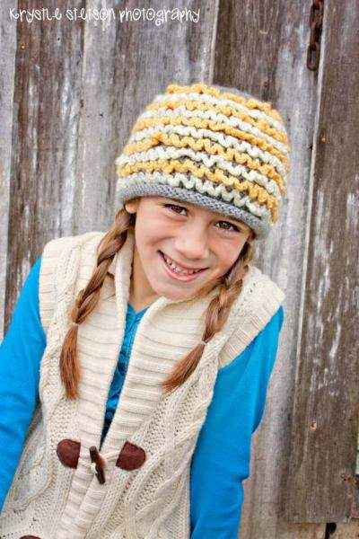 Grey Ruffles Knit Hat