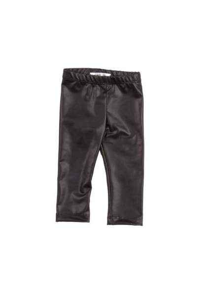 Vida Faux Leather Black Baby & Kids Leggings (American Made)
