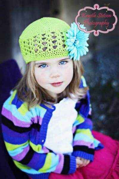 Apple Green Baby and Little Girls Flower Hat