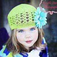 Apple Green Infant and Girl Boutique Beanie Hat with Turquoise Flower