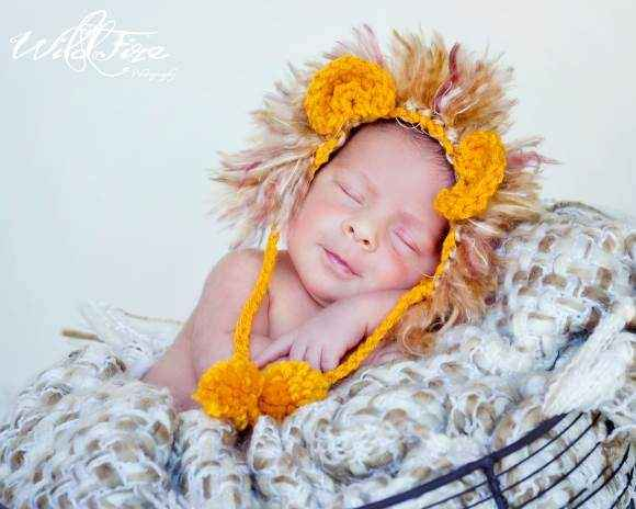 Newborn Baby Crocheted Lion Photo Prop Hat (American Made)